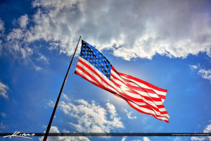 Patriotic American Flag Blue Sky with Clouds