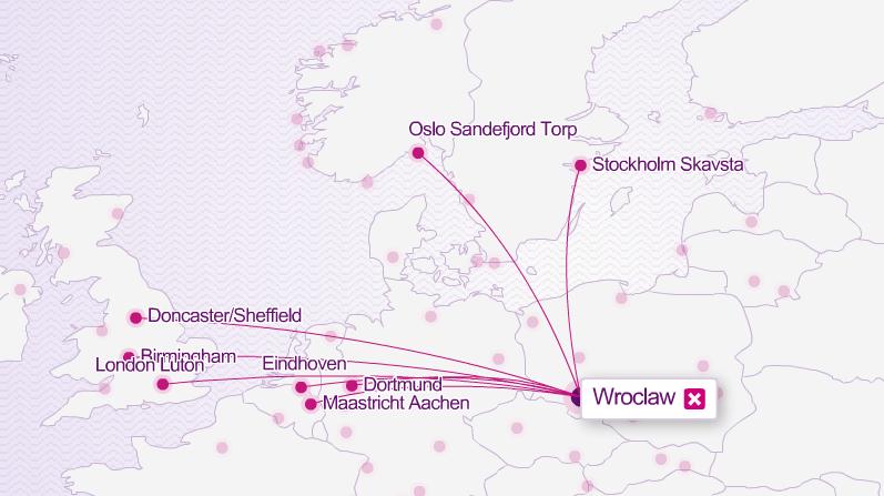 Destinace WIZZ z Wroclawi