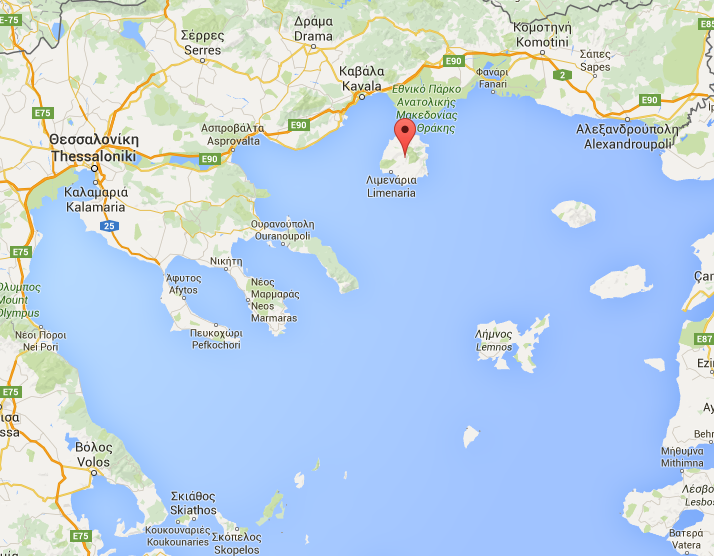Mapa s lokací ostrova Thassos